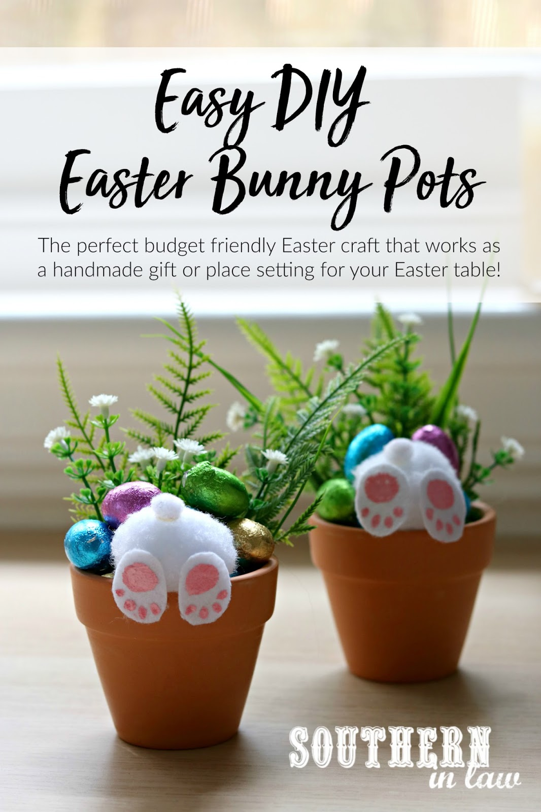Southern in law how to make your own curious easter bunny pots an easy diy curious easter bunny pots handmade easter gift ideas place settings placecards negle Images