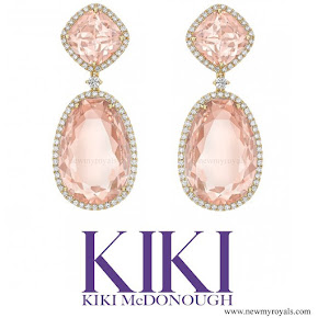 Kate Middleton jewelry - KIKI MCDONOUGH Morganite and Diamond Double Hoop Earrings