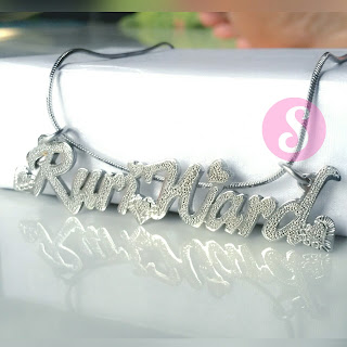 kalung nama monel silver grafir - ruriward