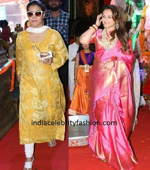 Kajol and Rani Mukherjee at Durga Puja Festivities