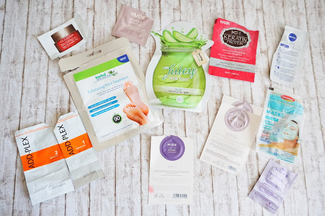 Addplex  herbal skin doctor - Exfoliating Foot Treatment  Clarins - Tagescreme Haute Exigence  Nude - Detox Gentle  Nude - eye complex  Nude - omega cleansing jelly  Holika Holika - Juciy Mask Sheet Aloe  Nuxe - Nuxellence Éclat  Hask - Keratin Protein Smooting Deep Conditioner  Nivea - Clear-up Strips