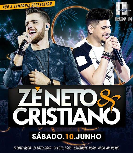 Show de Zé Neto e Cristiano no Hangar-116 no dia 10 de Junho em Registro-SP