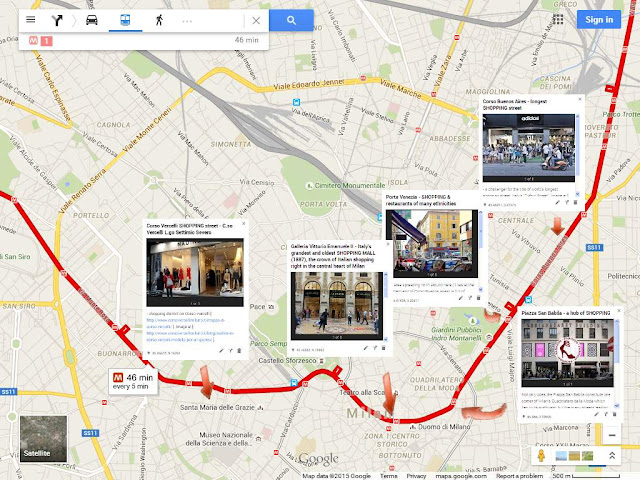 Map of Milan red M1 Metro Line to popular shopping destinations