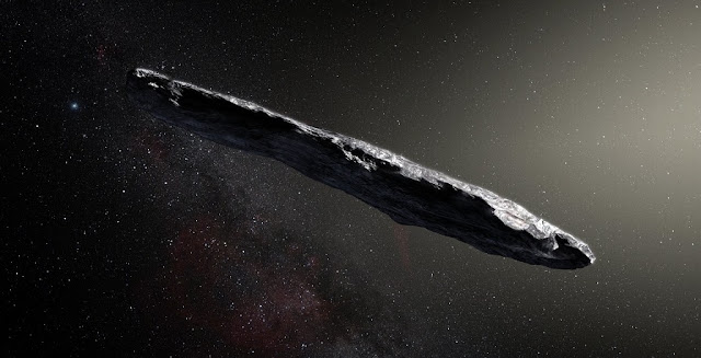 An artist's concept of interstellar asteroid 1I/2017 U1 ('Oumuamua) as it passed through the solar system after its discovery in October 2017. Observations of 'Oumuamua indicate that it must be very elongated because of its dramatic variations in brightness as it tumbled through space. Image credit: European Southern Observatory / M. Kornmesser