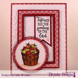 Divinity Designs Stamp Set: Fruit of the Spirit, Custom Dies: Pierced Rectangles, Double Stitched Rectangles, Pierced Circles, Circles, Fancy Circles, Pennant Flags, Double Stitched Pennant Flags, Paper Collection: Holly Jolly, Embossing Folder: Flourishes