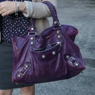navy polka dot tank, Balenciaga raisin purple 2009 giant silver G21 hardware work bag | away from the blue