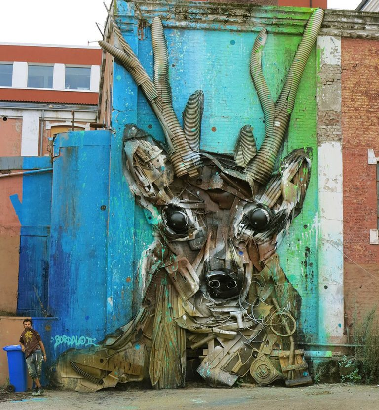 Street Artist Transforms Ordinary Junk Into Animals To Remind About Pollution - Deer