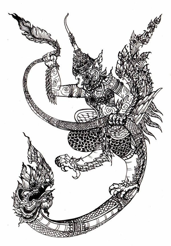 Dragon and Garuda