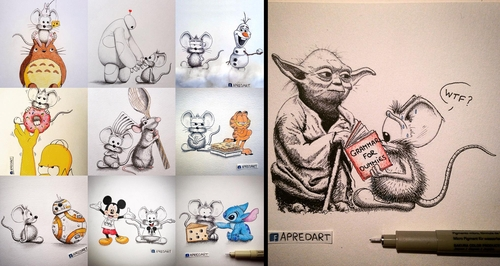 00-Loïc-Apreda-apredart-Drawings-of-Rikiki-the-Mouse-and-his-Famous-Friends-www-designstack-co