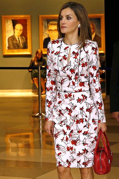 Queen Letizia wears Caroline Herrera Floral Inspired Dress, Lodi red pumps