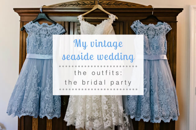 Vintage seaside wedding bridal party outfits