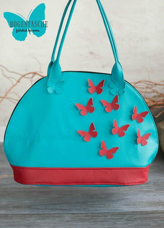 Türkis Rote Kunstledertasche - Statement Tasche - Schmetterlinge - Bogentasche