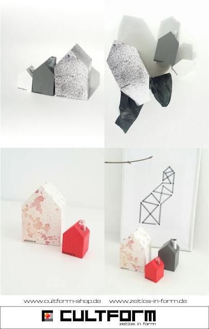 Die Hausbox von Cultform. Ein eindruchsvolles und doch einfaches DIY: kleine Geschenke individuell modern verpacken im aktuellen Watercolor-Trend: Cultform-Holzhäuschen MS oder S als passende Geschenkidee