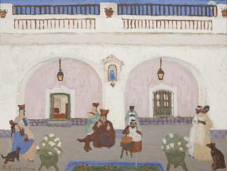 Pintura de Pedro Figari. Mujeres negras y blancas, preparando dulce de membrillo en un patio. Afrodescendientes a la derecha y blancas a la izquierda.