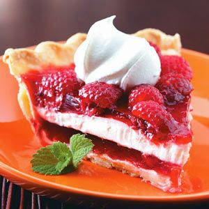 Raspberry Ribbon Pie with recipe link