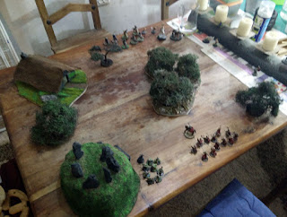 Some of my scenery, set up for a game