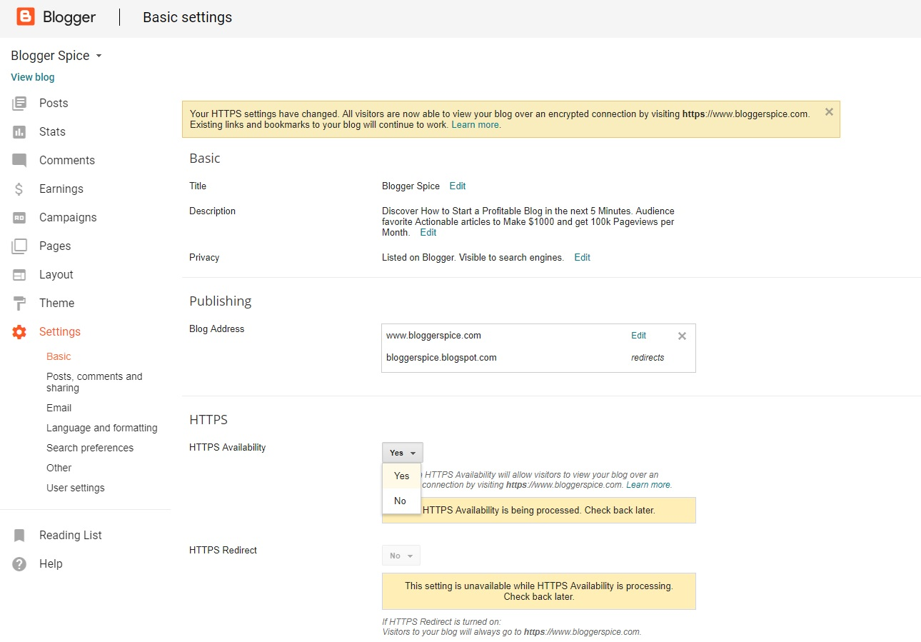 HTTPS feature officially available for Custom Domain in Google Blogger