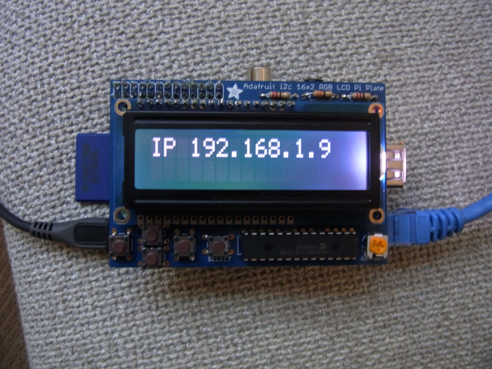 An Unofficial Raspberry Pi Blog: Adafruit LCD and Keypad Kit
