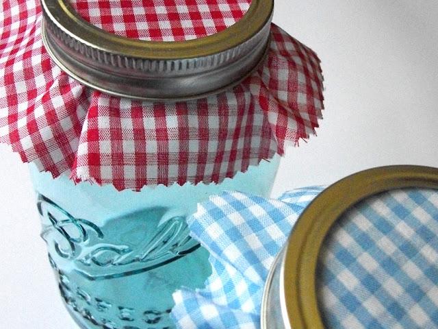 gingham jam jar covers