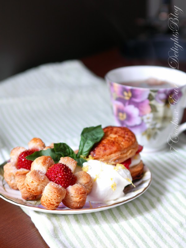 37 Cooks Strawberry Puff Pastry Flowers With Lemon
