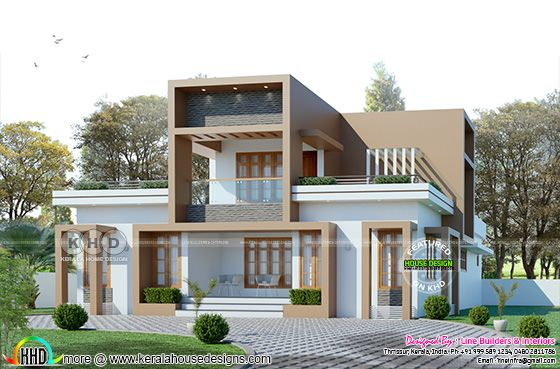 Sober color box type house rendering