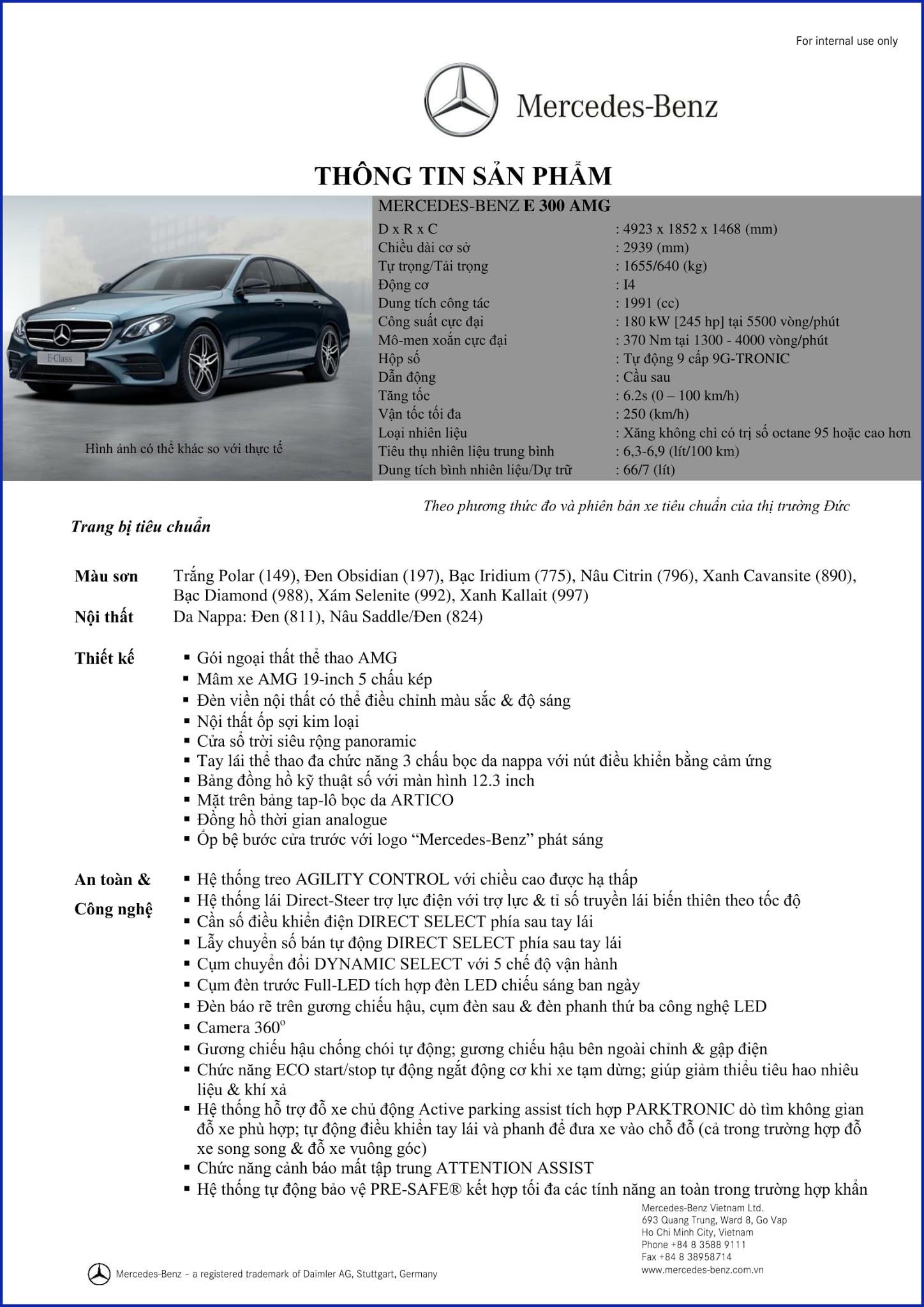 Bảng thông số kỹ thuật Mercedes E300 AMG 2019 nhập khẩu tại Mercedes Trường Chinh
