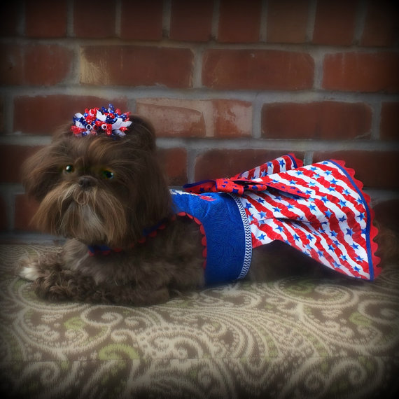 Thank God For Our Heroes Patriotic 4th of July Dog Dress by JustForBella on Etsy