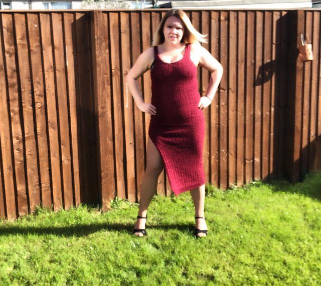 Knitted Side Split Maxi dress in Wine