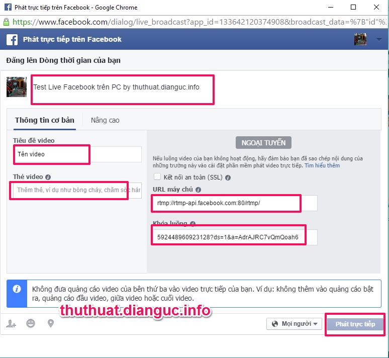 cách live Stream Facebook trên máy tính