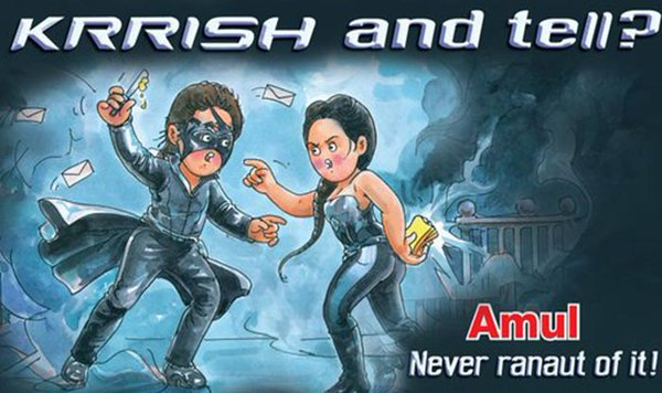 Nation's favourite butter maker Amul has focused its signature ad campaign on the nasty fight between Bollywood stars Hrithik roshan and Kangana Ranaut.   Amul ads are known for their satirical take on current events.