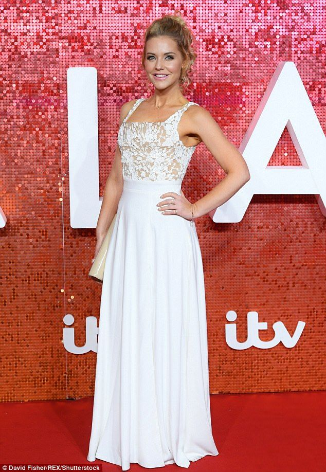 Stephanie Waring in Stunning white gown and Max Evans liplock Kiss Photos at ITV Gala
