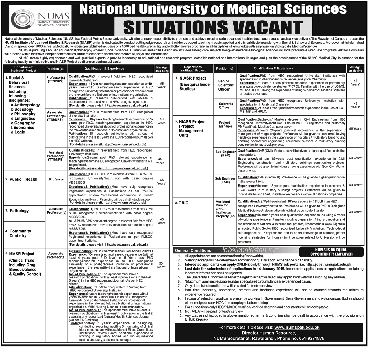 Advertisement for NUMS Jobs January 2019
