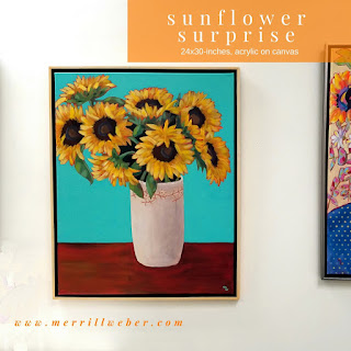 Sunflower Surprise original sunflower painting in acrylic by Pennsylvania artist Merrill Weber