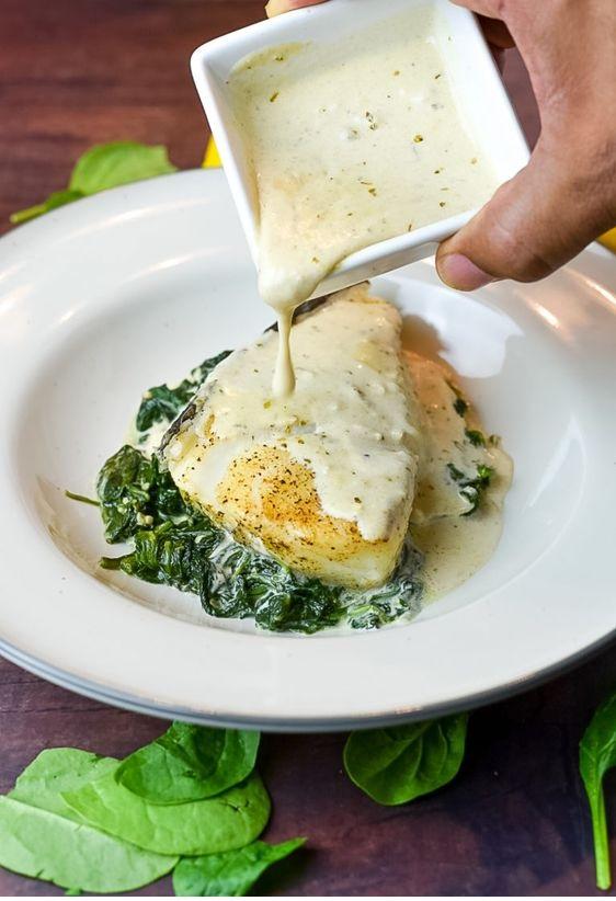 Chilean Sea Bass With Lemon Parmesan Cream Sauce