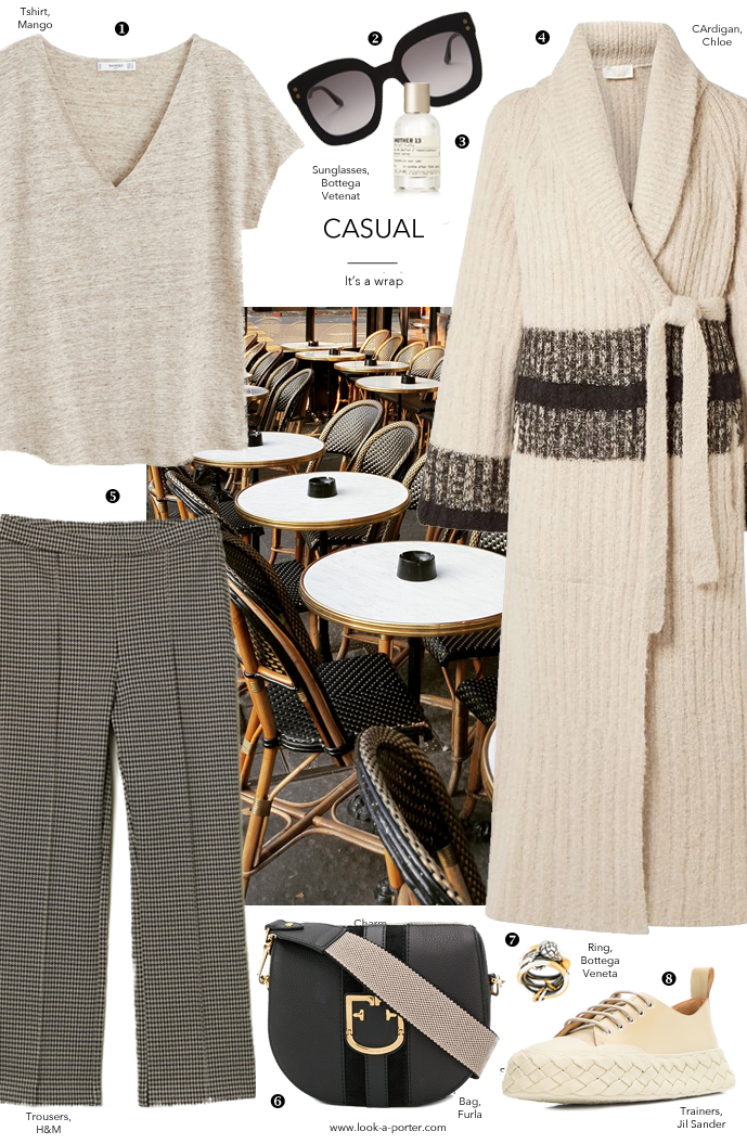 Styling a casual outfit with trainers, extra long Chloe cardigan, organic tishirt, furla bag and Bottega Veneta accessories for look-a-porter.com fashion blog, wardrobe staples, essentials, designer finds, classic style