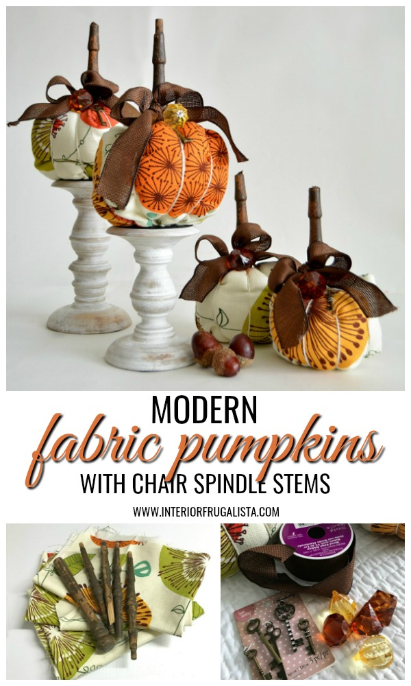 Modern Fabric Pumpkins With Chair Spindle Stems