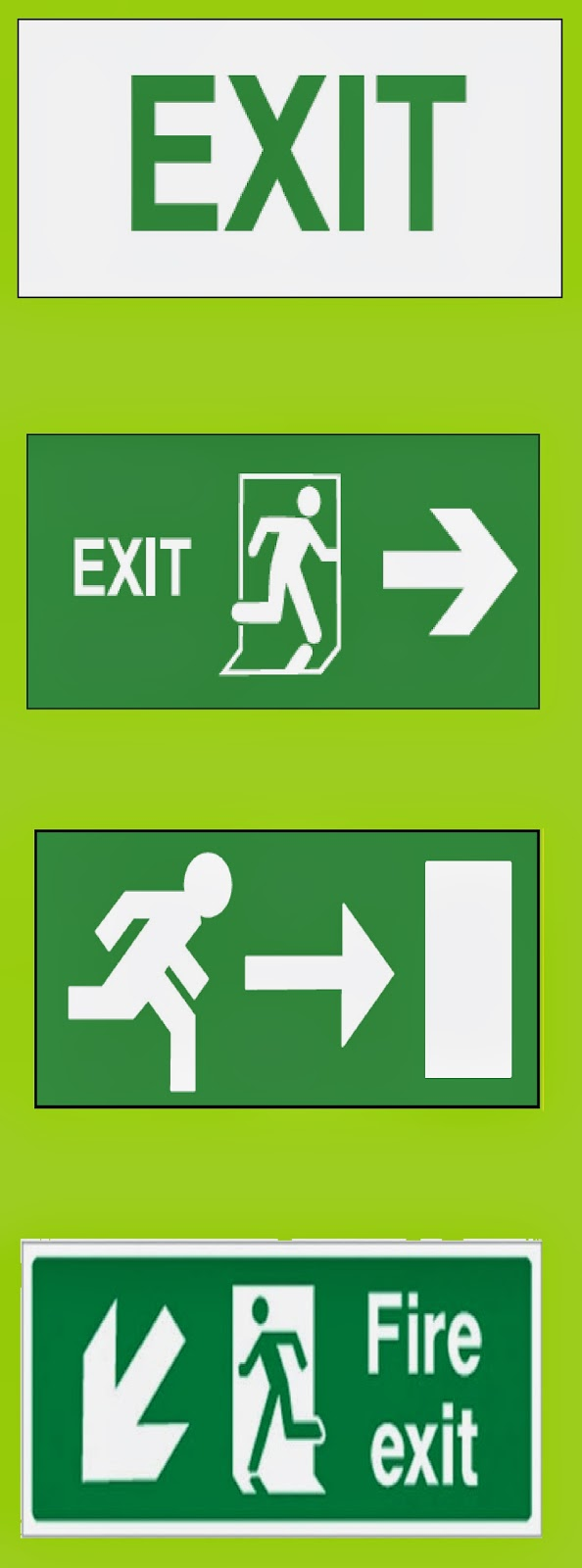 Format of emergency exit signs emergency exit or fire exit signs buycottarizona Images