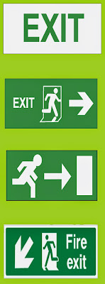 emergency exit or fire exit signs