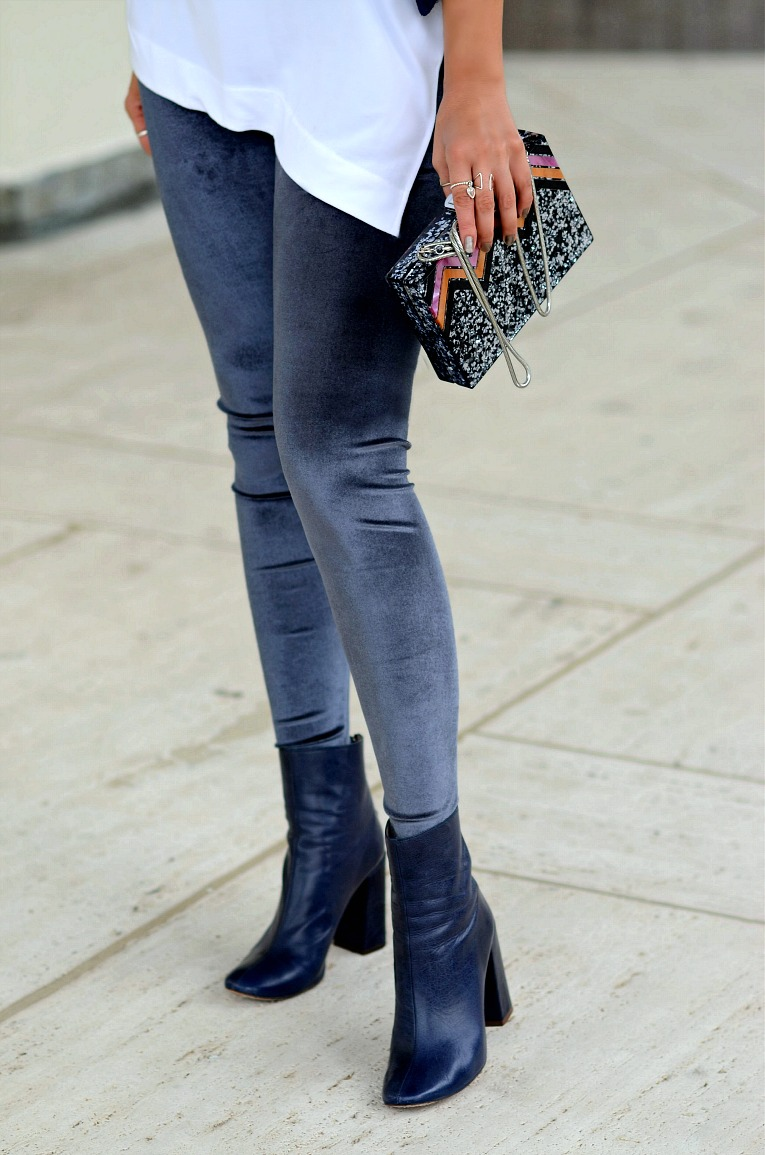 Zara Velvet legging, Glitter Box bag