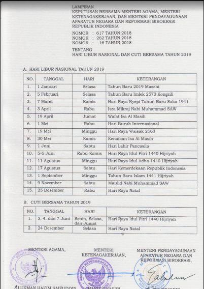 Geveducation:  Libur Nasional dan Cuti Bersama Tahun 2019