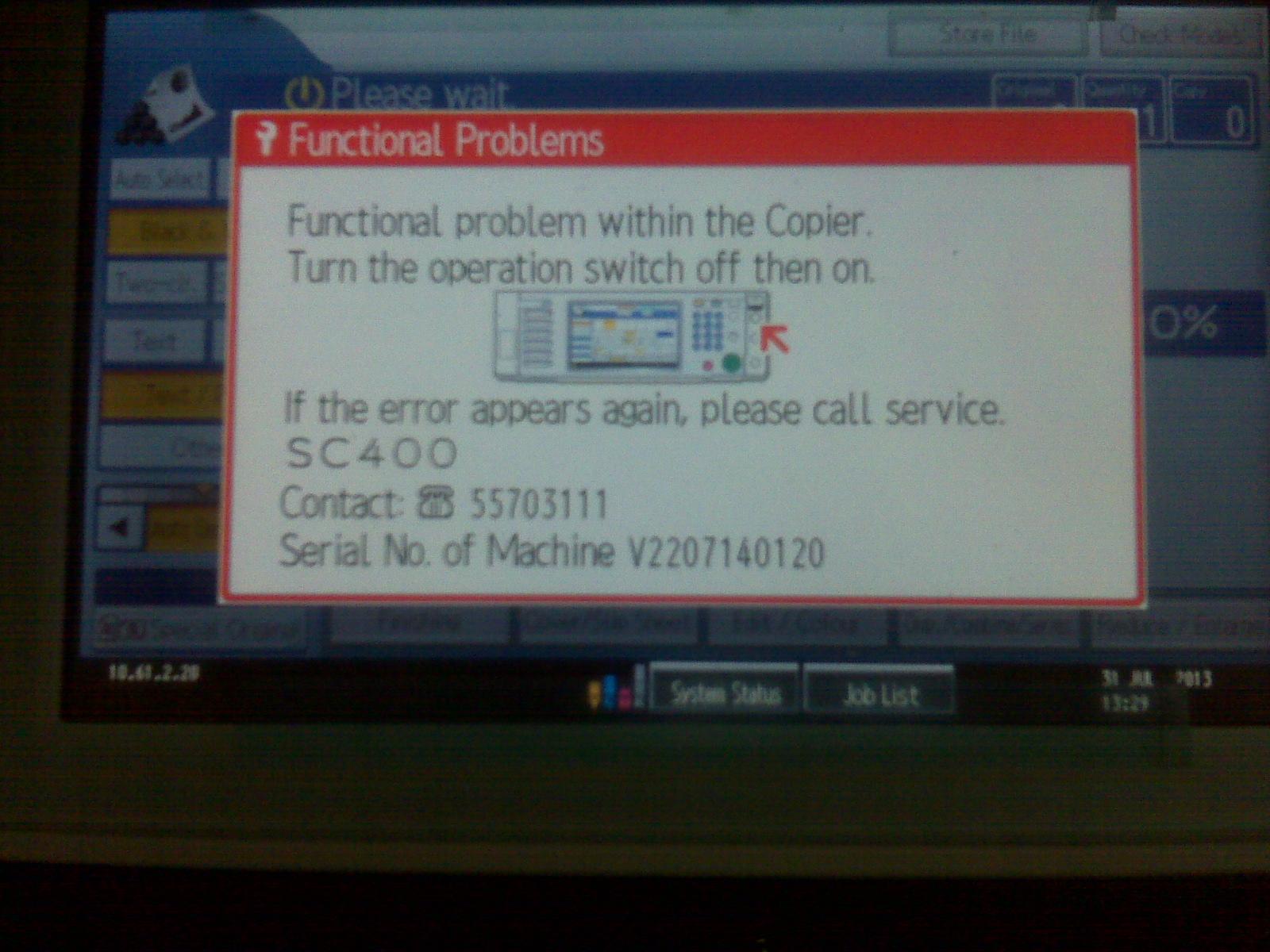ricoh sc 366 error code