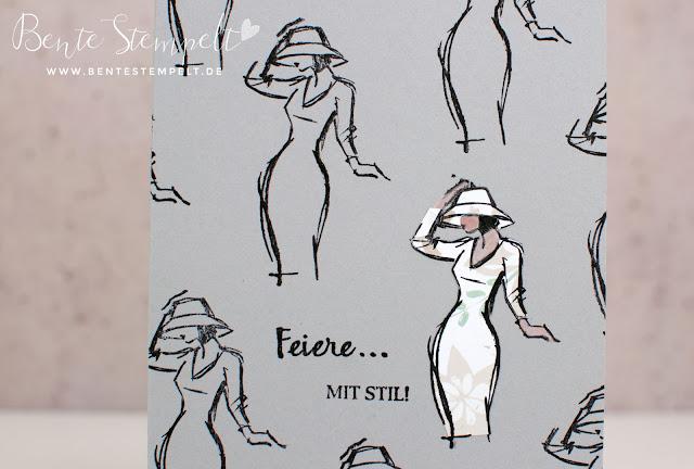 Stampin' Up! Mit Stil Beautiful You DSP Blühende Fantasie Technik Kleid ausschneiden doppelt stempeln clean and simple