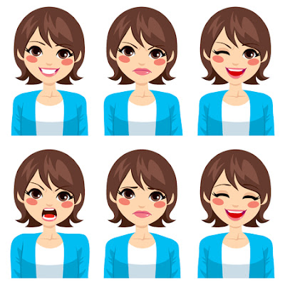 Woman with different expressions on her face
