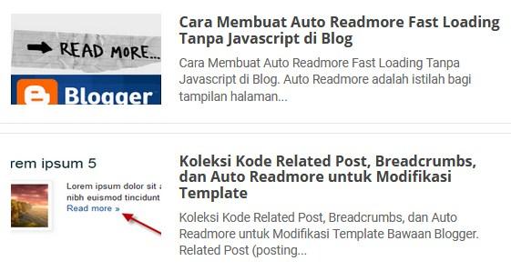 Auto Readmore Blog Gambar Thumbnail di Samping Judul