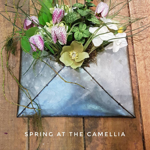 metal wall pocket, The Camellia, peppermint plant