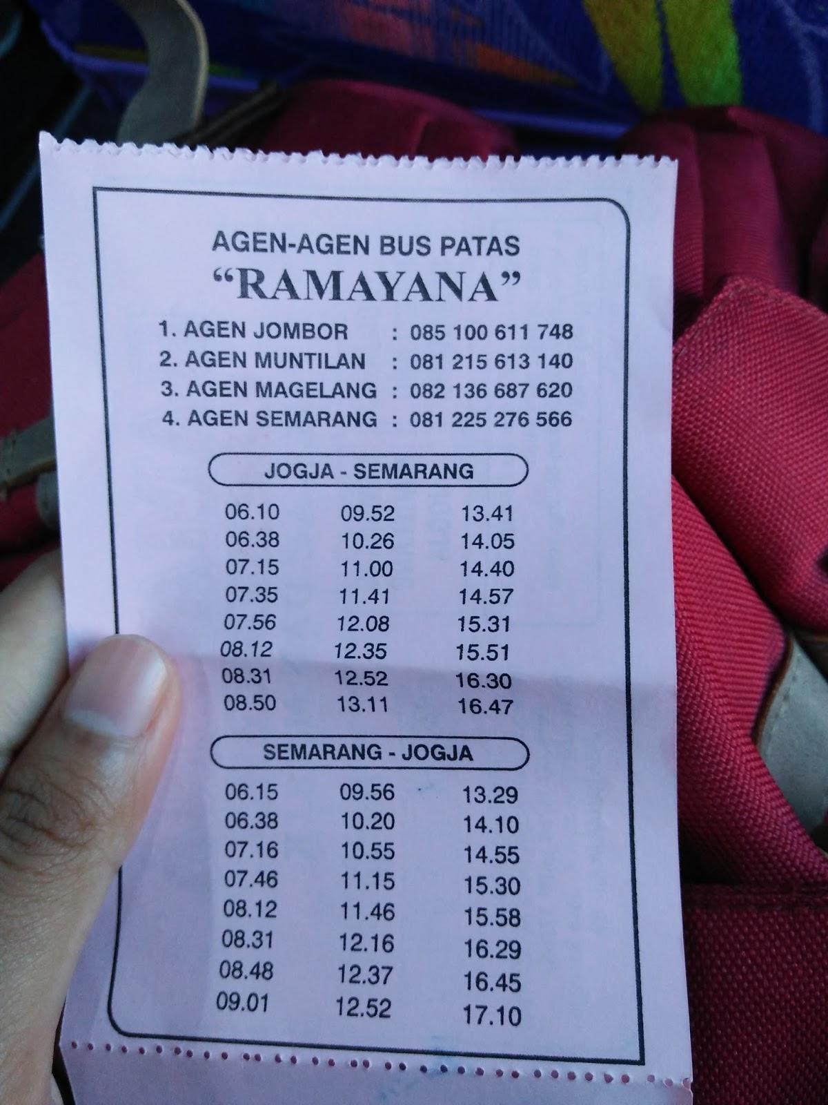Malam Jadwal Bus Ramayana Semarang Jogja