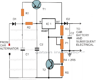 make this voltage stabilizer circuit for your car wiring. Black Bedroom Furniture Sets. Home Design Ideas