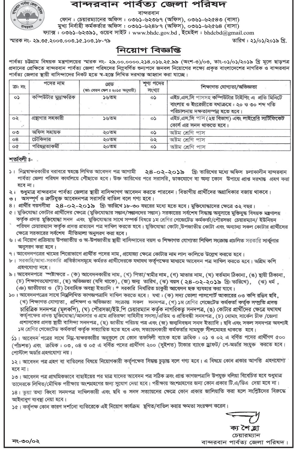 Bandarban Hill District Council Job Circular 2019