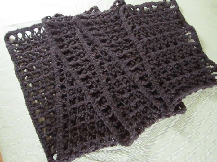 scarf, crochet, love knot, Caron One Pound