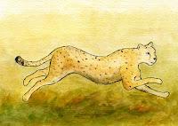 Postcard illustration of a cheetah
